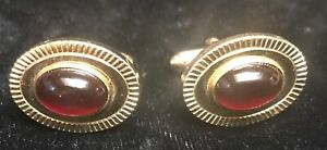 Vintage Anson Signed Red Stone Cufflinks Signed Costume jewelry