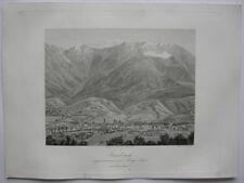 Innsbruck vom Berg Isel Tirol Österreich Orig Stahlstich 1840 Steinicken