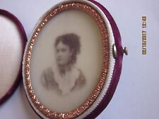 Beautiful Vintage Milk Glass Portrait of Young Woman, Not Ambrotype Felt Case Vg