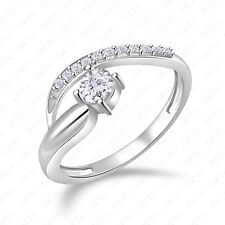 Accent Stones Band All 4-12 Sizes 14K White Gold Finish Solitaire Ring With