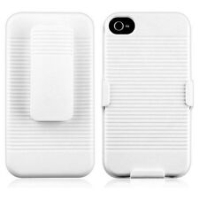 White Slide Case with Belt Clip Swivel Holster Stand Cover for iPhone 4 4S
