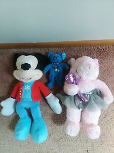 """Dan Dee Plush Pink Pig 16""""-Disney Micky Mouse 20""""-Military Beanie Navy-Lot of 3"""