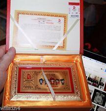 2008 Beijing Olympics Commemorative Pure Gold Card Framed Friendlies Panda 999