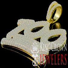 Mens 10K Yellow Gold On Silver 100 Percent Emoji Simu Diamond Pendant Pave Charm