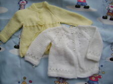 2 New Hand Knitted Matinee Jackets Lemon/White 0/3 months