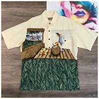 Vtg Tori Richard Mens Size L Button Front Hawaiian Aloha Shirt 100% Rayon USA