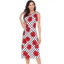 """""""Remy"""" Gorgeous White Black & Red Rose Size 16-18 Floral Polka Dot Cotton Dress"""