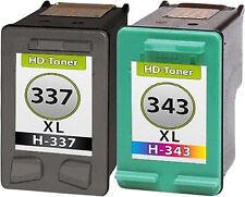 2 Tintas para HP 337+343 XL Photosmart c4180 d5160 c9364ee