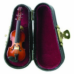 Miniature Resin Stone Violin 3 Inch Fashion Pin With Case