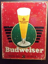 Budweiser Tall Glass TIN SIGN Vtg/retro Logo Beer Bottle Vtg Bar Wall Decor