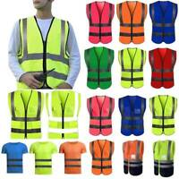 Mens High Visibility Vest Waistcoat Yellow Orange Safety Workwear Jacket Coat