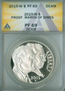 2015 W March of Dimes Silver Dollar ANACS PF-69 DCAM FREE S/H (2127384)