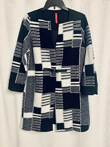 IC By Connie K ~ Stunning Black Gray White Front Buckle Close Jacket~ Sz S ~ NEW
