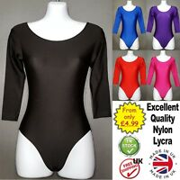 Girls Leotards kids Long Sleeve Dance Nylon Lycra Ballet Gymnastic (CC)