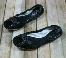 Tod's Gommino Driving Shoes Moccasins Size 6.5 7 Black Patent Leather Open Toe