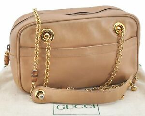 Authentic GUCCI Bamboo Shoulder Cross Body Bag Leather Beige E2139