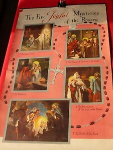 "1952 Copyrighted poster THE FIVE JOYFUL MYSTERIES OF THE ROSARY Size 22"" x 37"""