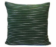 "Green White Stripe Cushion Covers 16"" 40cm Sofa Scatter Soft Cotton Washable"