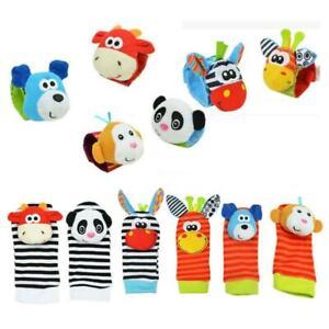 Bundle Activity Cute Socks & Wrist Rattles Safe Soft Baby Infant Toy C9Y8