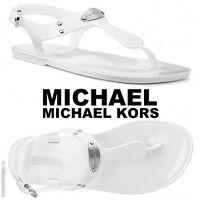 MICHAEL Michael Kors MK Plate Jelly Fashion Sandals Beach Pool Silver Summer