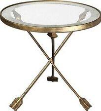Uttermost - 24275 - Aero - 20 inch Glass Top Accent Table  Antiqued Gold Leaf