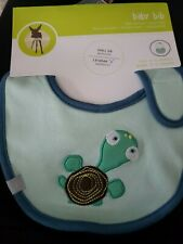 2 Waterproof Baby Bib Small Green Turtle 0 to 12 Months Lassig New Free Sipping