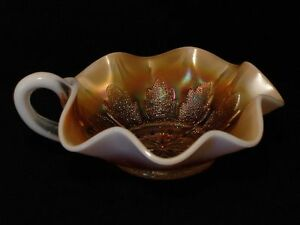 Dugan Carnival Glass Leaf Rays Peach Opalescent Handled Olive Dish