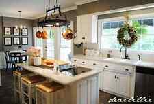 Gourmet Rubbed Bronze Kitchen Island 2 light ceiling pot pan storage rack 6hooks