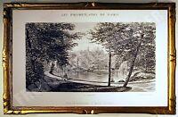 RARE GRAVURE LA MARE D'AUTEUIL au BOIS de BOULOGNE PROMENADES DE PARIS 1882