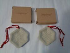 (2 Different Longaberger Snowflake Stoneware Ornament Cookie Molds New