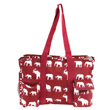 Elephant Pattern zip top multi function Diaper Utility organizer bag luggage