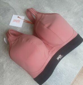 Panache Sport Non Wired Spoets Bra Pink Black Uk Womens Size 30F Bnwt Rrp £40