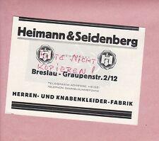 BRESLAU, Werbung 1928, Heimann & Seidenberg Herren-Knaben-Kleider-Fabrik
