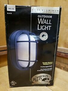 Hampton Bay Exterior Wall Light 240 235 Black Oval, Frosted Ribbed Glass