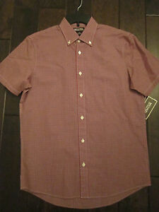 Men's NWT MICHAEL KORS $75 Tailored Fit Button Down Shirt Red Plaid Sz S NEW