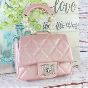 Badgley Mischka Quilted Pearl Handle Mini Bag Pink