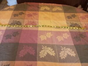 Autumn Fall Leaves Large Table Cloth 100% cotton EUC 52x88 Muted Green Gold Red