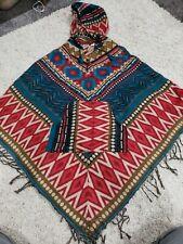 Vintage Wool Poncho Cape Hood Sweater Jacket Nepal Southwestern Aztec boho Hippy