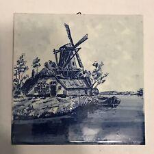 Beautiful BELGIUMDelft Windmill Tile Wall Art, Trivet Blue & White Square MINT!