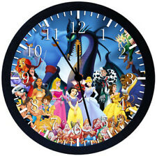 All Disney Characters Black Frame Wall Clock Nice For Decor or Gifts W174