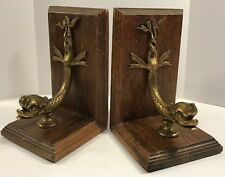 Ethan Allen Sea Serpent Mythology Bookends Wood Brass Heavy