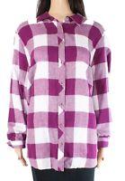 Foxcroft Womens Blouse Purple Size 22W Plus Plaid Print Button Down $86- 167