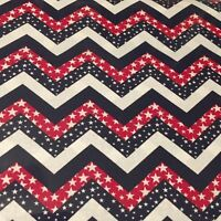 Patriotic USA Chevron With Stars Made in USA 100% cotton Fabric by the yard