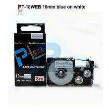 Casio XR-18WEBCompatible Blue on White 18mm 8m Label Tape KL100 KL120 XR-18WEB1