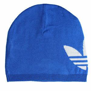 Adidas Trifoglio Originali Beanie Uomo Maglia Fine Svolta Berretto Invernale Blu