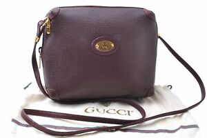 Authentic GUCCI Shoulder Cross Body Bag Leather Bordeaux Red C5169