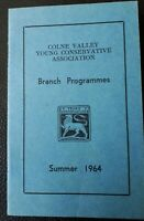 1964 COLNE VALLEY YOUNG CONSERVATIVES ASSOCIATION Booklet, Tory Party Ephemera
