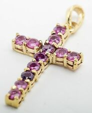 "Pink Ruby Cross Pendant with 14K Yellow Gold, 1"" in Length - NEW!"