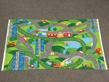 Train Playmat Fabric Panel Road Car Plane Helicopter Bus Boys Quilting Material