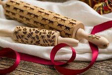 Cats Lavender Engraved Rollings Embossed Dough Roller Carved Rolling Pins Set